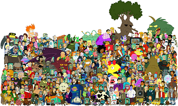 pretty much every character who ever appeared in futurama