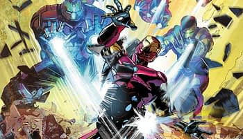 Invincible Iron Man #596 cover by Mike Deodato Jr. and Dean White