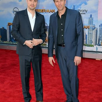 "LOS ANGELES, CA. June 28, 2017: Screenwriters Jonathan Goldstein & John Francis Daley at the world premiere of ""Spider-Man: Homecoming"" at the TCL Chinese Theatre, Hollywood."