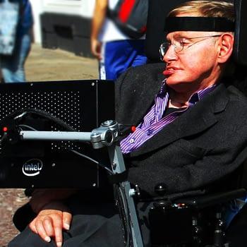 Stephen Hawking in Cambridge by Doug Wheller