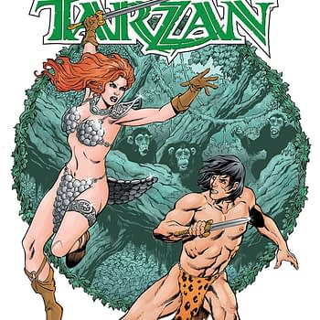 Red Sonja/Tarzan #2 cover by Aaron Lopresti
