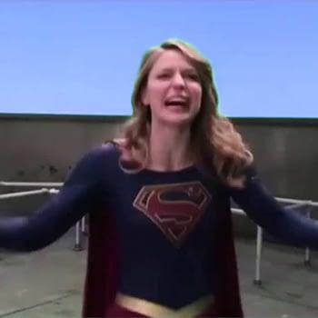 Melissa Benoist as Supergirl as Tommy Wiseau in The Room