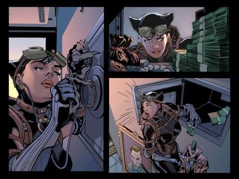 Catwoman breaking into comics from Injustice: Gods Among Us #17 by Tom Taylor, David Yardin, and Le Beau Underwood