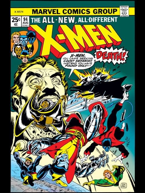 X-Men #94 cover by Dave Cockrum, Gil Kane, and Danny Crespi