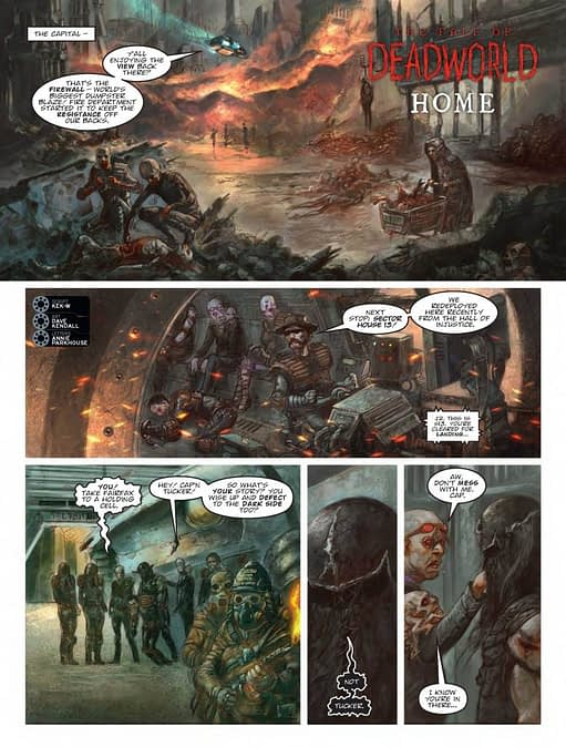 Interior art from 2000 AD #2050's Fall of Deadworld story by David Kendall
