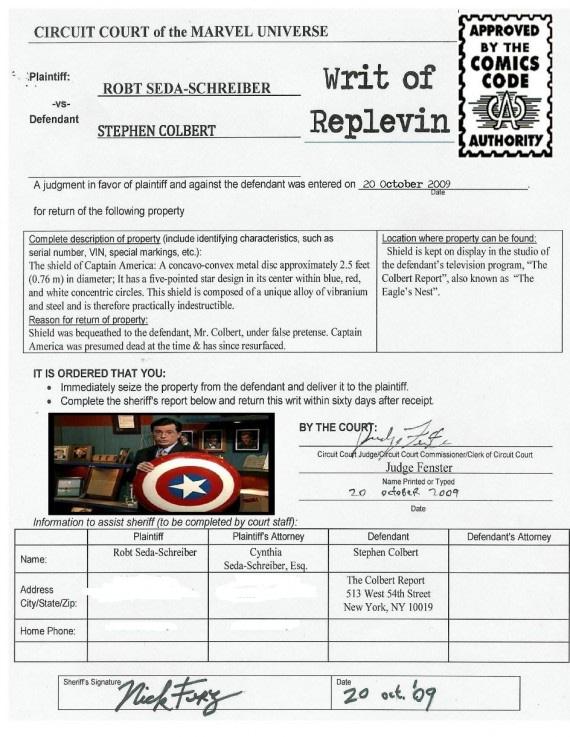 writ of repevin- robt seda-schreiber v. stephen colbert (redacted)
