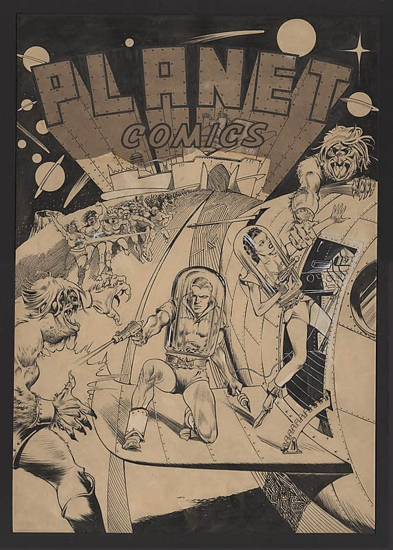 Planet Comics #1 original cover art by Lou Fine - Jon Berk Collection Session 1 Auction