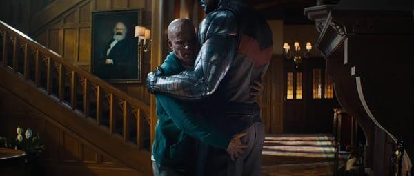 Wade hugging Colossus in Deadpool 2