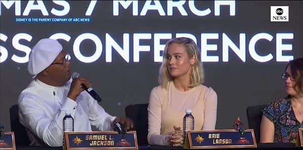 """Samuel L. Jackson, Brie Larson, and cast talk about """"Captain Marvel"""" in press conference in Singapore. Credit: ABC"""