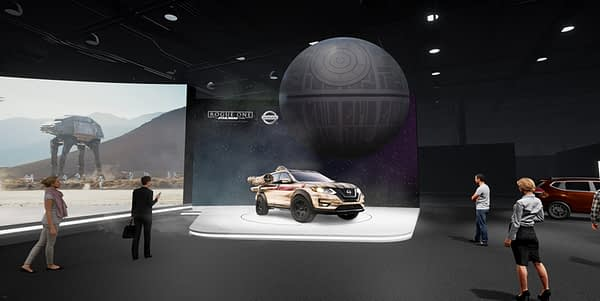 """NEW YORK (April 6, 2017) – As a continuation of an extensive collaboration with Lucasfilm Ltd. in support of """"Rogue One: A Star Wars Story,"""" Nissan is bringing an immersive """"Rogue One: A Star Wars Story""""-inspired experience to consumers visiting the Nissan booth at the 2017 New York International Auto Show. The activation launches in Gotham City following the Blu-ray™ and Digital HD release of """"Rogue One: A Star Wars Story"""" on April 4."""