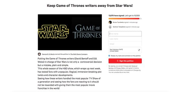 2 Petitions to Remove 'Game of Thrones' Writers from 'Star Wars' Launch