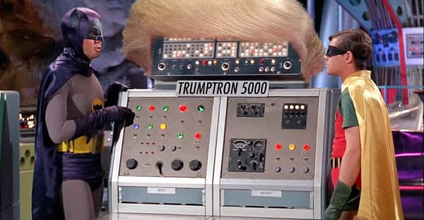 A photo of Bleeding Cool managing editor Mark Seifert, boy sidekick Eliot Cole, and a supercomputer based on the personality of Donald Trump.