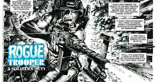 Interior art from the 2000 AD #2050's Rogue Trooper story by Leonardo Manco