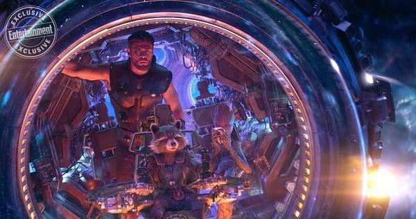 MARVEL'S AVENGERS: INFINITY WAR Chris Hemsworth as Thor, Bradley Cooper as Rocket, and Vin Diesel as Groot
