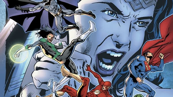 Cover to Justice League #29 by Bryan Hitch and Jeremiah Skipper