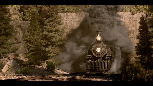 A fast train to Deadwood burst into view, rendered by FuseFX, ©2019 HBO.