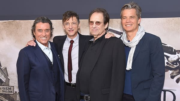 Ian McShane, John Hawkes, David Milch and Timothy Olyphant arrives for the HBO's 'Deadwood' Premiere on May 14, 2019 in Hollywood, CA