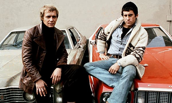 Starsky & Hutch stars David Soul and Paul Michael Glaser – with the show's customised red 1975 Ford