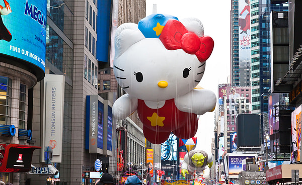 Hello Kitty character balloon at the Macy's Thanksgiving Day Parade 2010