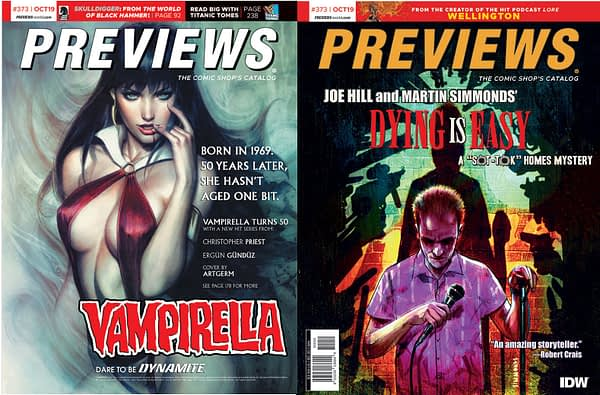 "Artgerm's Vampirella and Joe Hill and Martin Simmonds' ""Dying Is Easy"" on Diamond Previews Covers Next Week"
