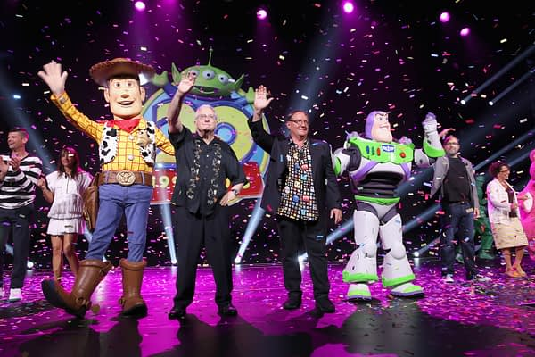 """ANAHEIM, CA - AUGUST 14:  Composer Randy Newman of TOY STORY 1, 2 and 3 and director John Lasseter of TOY STORY 4 (C) took part today in """"Pixar and Walt Disney Animation Studios: The Upcoming Films"""" presentation at Disney's D23 EXPO 2015 in Anaheim, Calif.  (Photo by Jesse Grant/Getty Images for Disney) *** Local Caption *** Randy Newman; John Lasseter; Will McCormack; Rashida Jones; Galyn Susman; Josh Cooley"""