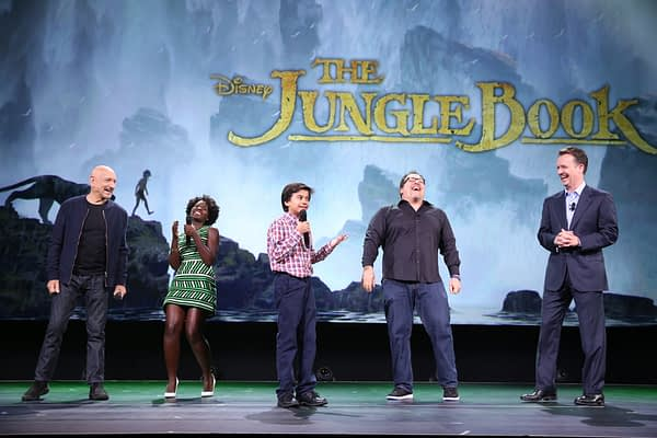 """ANAHEIM, CA - AUGUST 15:  (L-R) Actors Ben Kingsley, Lupita Nyong'o, Neel Sethi and director Jon Favreau of THE JUNGLE BOOK and President of Walt Disney Studios Motion Picture Production Sean Bailey took part today in """"Worlds, Galaxies, and Universes: Live Action at The Walt Disney Studios"""" presentation at Disney's D23 EXPO 2015 in Anaheim, Calif.  (Photo by Jesse Grant/Getty Images for Disney) *** Local Caption *** Ben Kingsley; Lupita Nyong'o; Neel Sethi; Jon Favreau; Sean Bailey"""
