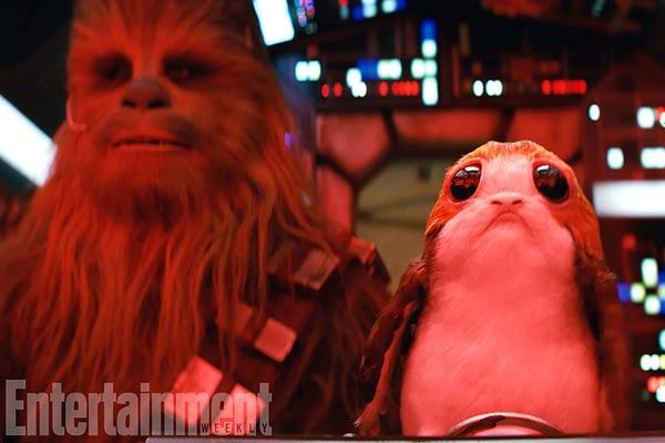 Star Wars: The Last Jedi L to R: Chewbacca (Joonas Suotamo) and a Porg