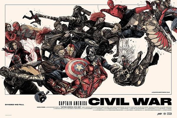Mondo Marvel Studios 10 Anniversary Civil War Poster 1
