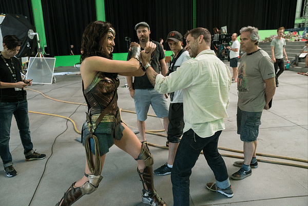 Zack Snyder and Gal Gadot on the set of Justice League