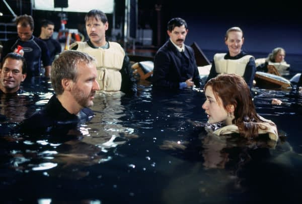 James Cameron and Kate Winslet behind the scenes of Titanic
