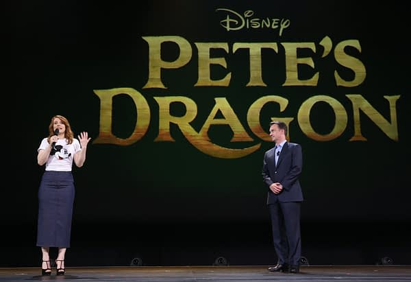 """ANAHEIM, CA - AUGUST 15:  Actress Bryce Dallas Howard of PETE'S DRAGON (L) and President of Walt Disney Studios Motion Picture Production Sean Bailey took part today in """"Worlds, Galaxies, and Universes: Live Action at The Walt Disney Studios"""" presentation at Disney's D23 EXPO 2015 in Anaheim, Calif.  PETE'S DRAGON will be released in U.S. theaters on August 12, 2016.  (Photo by Jesse Grant/Getty Images for Disney) *** Local Caption *** Bryce Dallas Howard; Sean Bailey"""