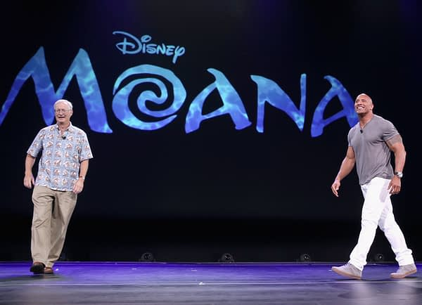"""ANAHEIM, CA - AUGUST 14: Director John Musker (L) and actor Dwayne Johnson of MOANA took part today in """"Pixar and Walt Disney Animation Studios: The Upcoming Films"""" presentation at Disney's D23 EXPO 2015 in Anaheim, Calif.  (Photo by Jesse Grant/Getty Images for Disney) *** Local Caption *** Dwayne Johnson; John Musker"""