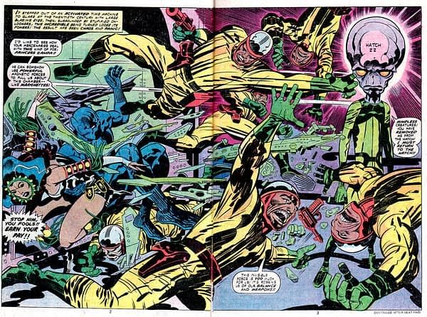 Black Panther art by Jack Kirby, Mike Royer, and Petra Goldberg