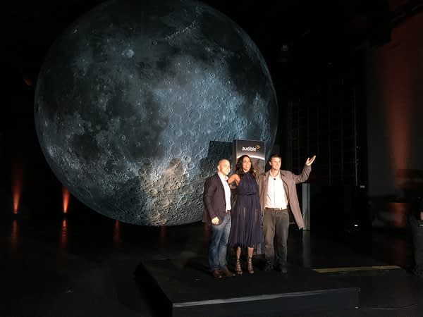 Luke Jerram and Rosario Dawson open moon exihibit and promote Andy Weir's upcoming book, Artemis.