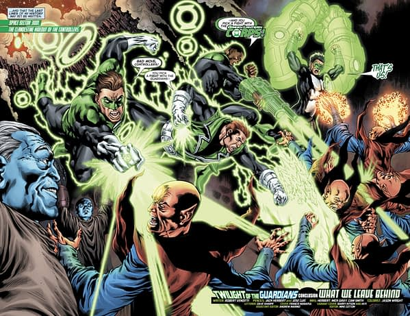 Hal Jordan and the Green Lantern Corps #36 art by Jack Herbert, Jose Luis, Mick Gray, Cam Smith, and Jason Wright