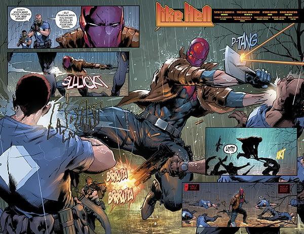 Red Hood and the Outlaws #23 art by Trevor Hairsine, Ryan Winn, and Rain Beredo