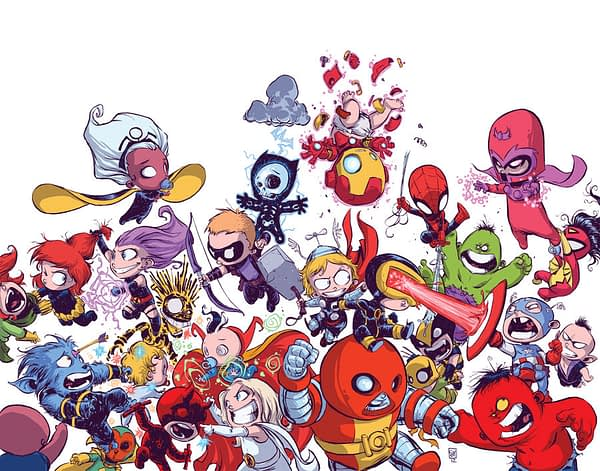 Avengers vs. X-Men Marvel Babies variant cover by Skottie Young