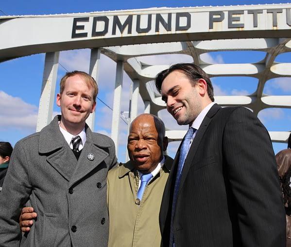 John Lewis, N Powell, A Aydin on Edmund Pettus Bridge (photo by Sandi Villarreal)