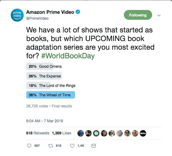 'Wheel of Time' Tops Amazon's Viewers Most-Excited Book-Based Series Poll
