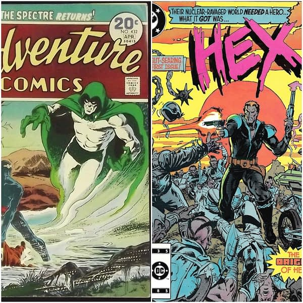 Adventure Comics #432 cover by Jim Aparo and Tatjana Wood, Hex #1 cover by Mark Texeira and Klaus Janson