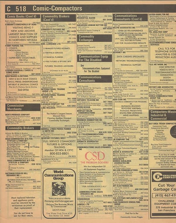 What 1983 San Francisco Comic Store Yellow Page Listings Looked Like