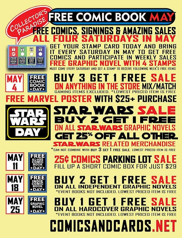 Collector's Paradise Plans For Free Comic Book Day Through May in California