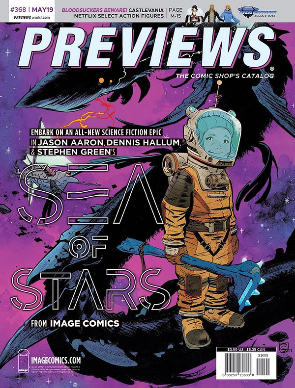 House Of X on Front of Next Week's Previews, Sea Of Stars on the Back...