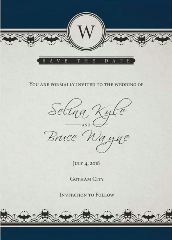 batwedding batman catwoman invitation