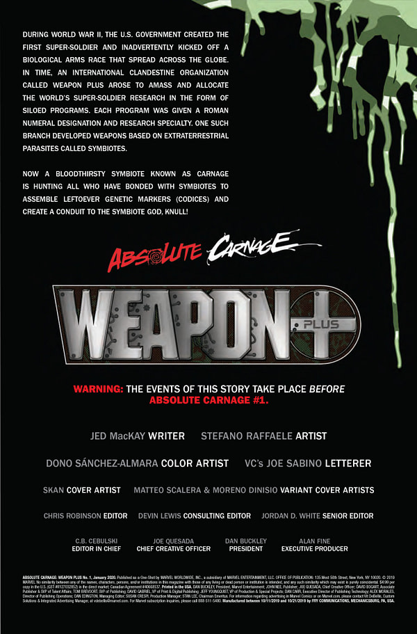 Absolute Carnage: Weapon Plus #1 [Preview]