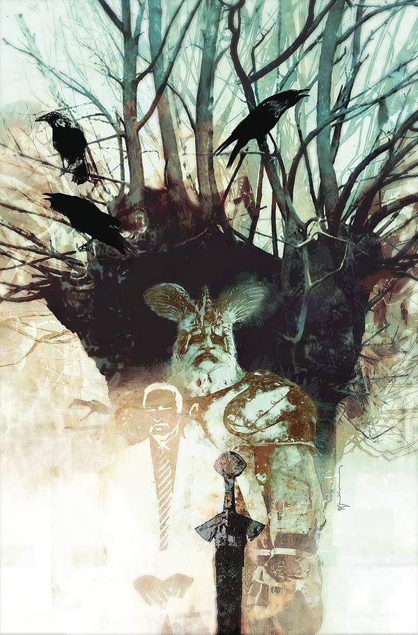 American Gods #2 cover by Bill Sienkiewicz