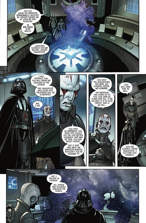 Darth Vader #7 art by Giuseppe Camuncoli, Daniele Orlandi, and David Curiel