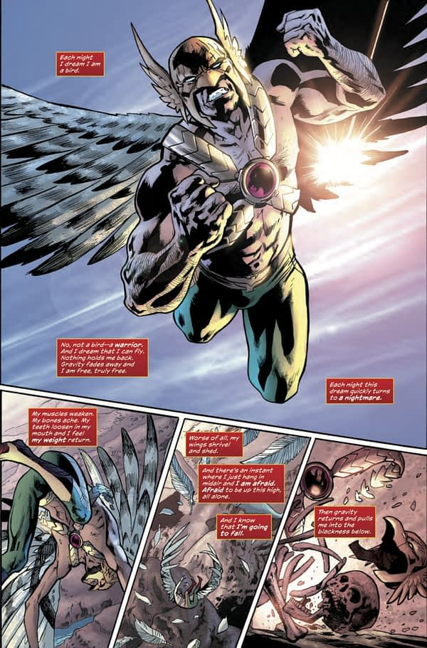Hawkman Found #1 art by Bryan Hitch, Kevin Nowlan, Alex Sinclair, and Jeremiah Skipper