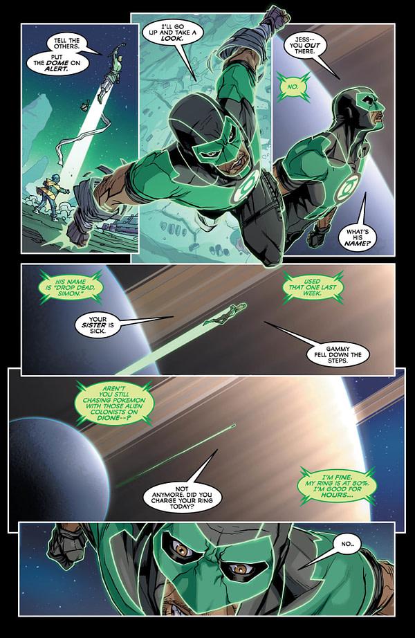 Justice League #34 art by Pete Woods