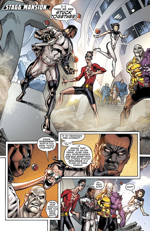 Terrifics #3 art by Joe Bennett, Sandra Hope, Jaime Mendoza, Art Thibert, and Marcelo Maiolo